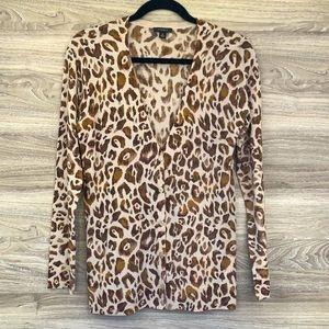 Leopard animal print brown tan cardigan sweater